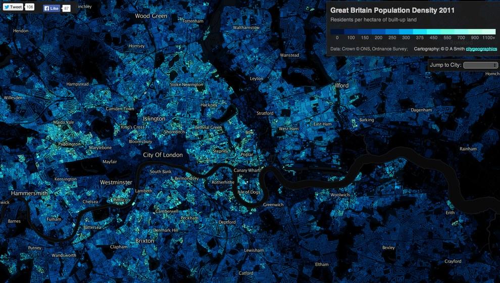 densidad población londres