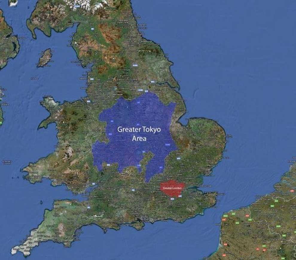 mapa de tokyo comparado con uk