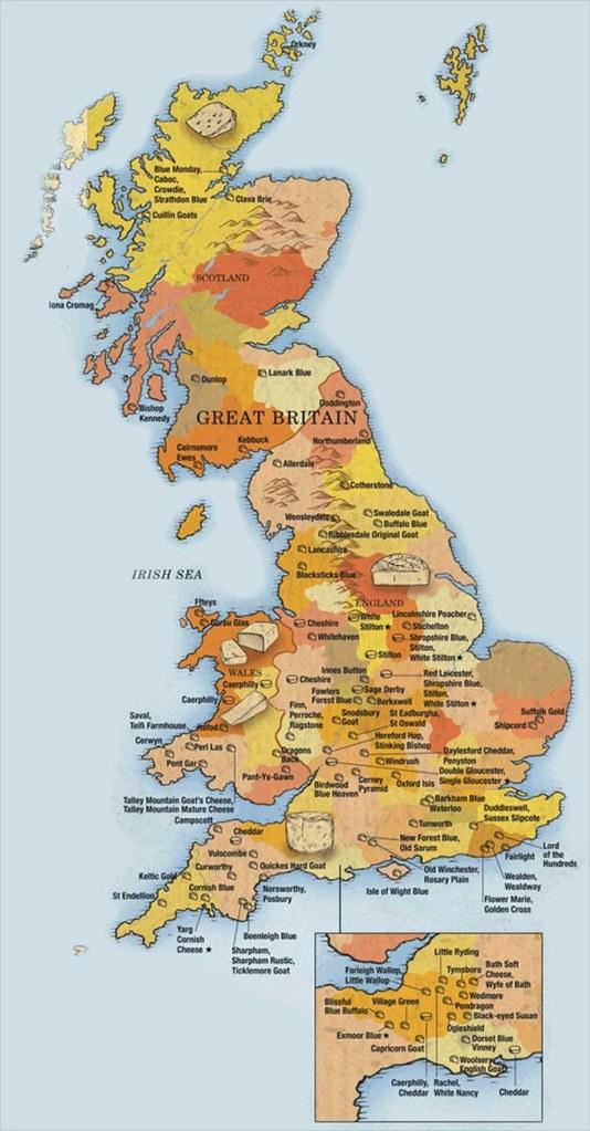 mapa de quesos de uk
