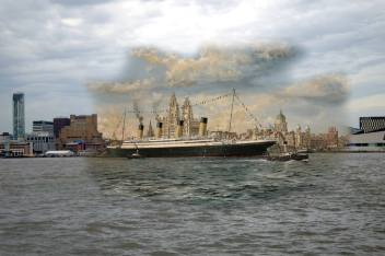 002 RMS Olympic, River Mersey, 1912 in 2014