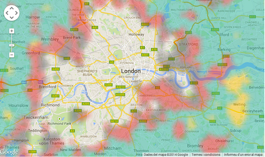 Heat map of flat sharing vs affordability in London