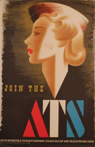 'Blonde Bombshell', an ATS Recruitment Poster by Abram Games. The poster was withdrawn in 1941 for being 'too glamorous'.