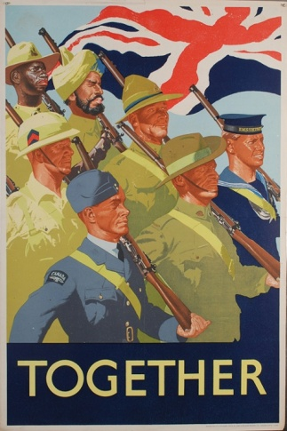 British Commonwealth troops march in unison before a union jack flag, printed for HM Stationary Office.