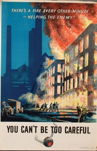 'You Can't Be Too Careful' by Norman Hepple for the National Fire Service in 1944.