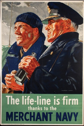 Artwork celebrating the work of the Merchant Navy, by Charles Wood.