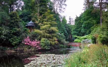 Oriental Pagoda, and Bridge, Portmeirion Gardens, North Wales, U