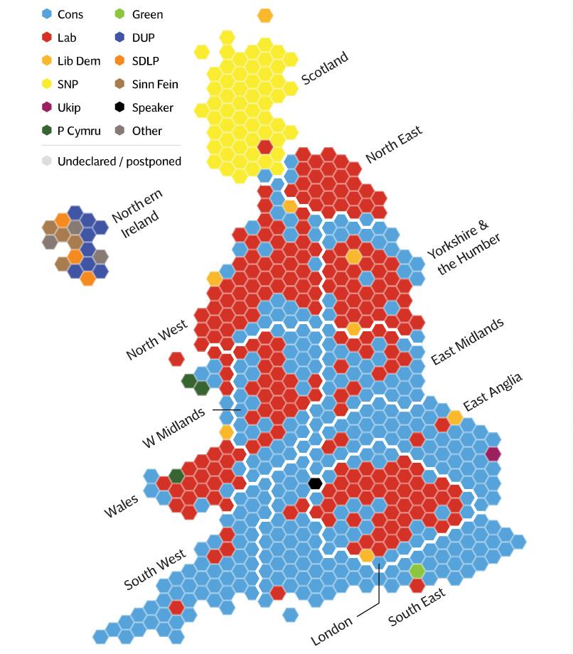 Mapa con los ganadores de cada Constituency