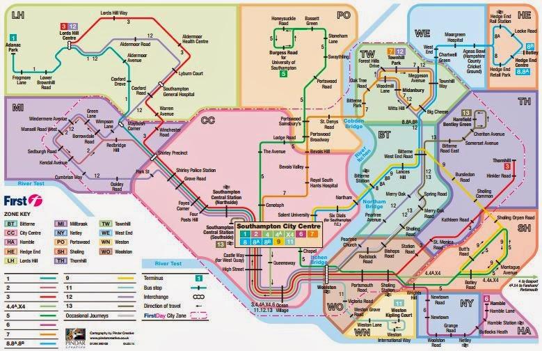 Map First Southampton Fare Zones