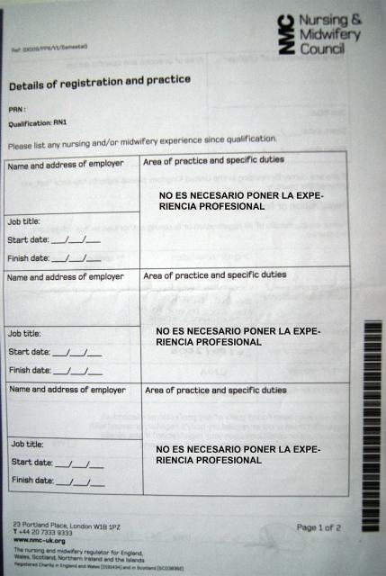registro NMC colegio enfermeros UK