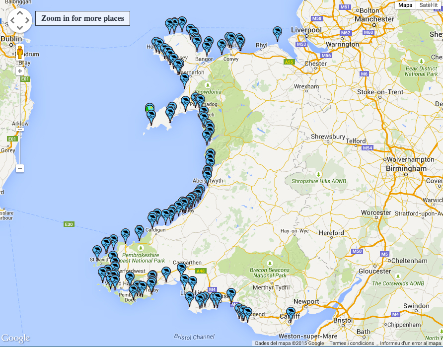 mapa playas gales uk