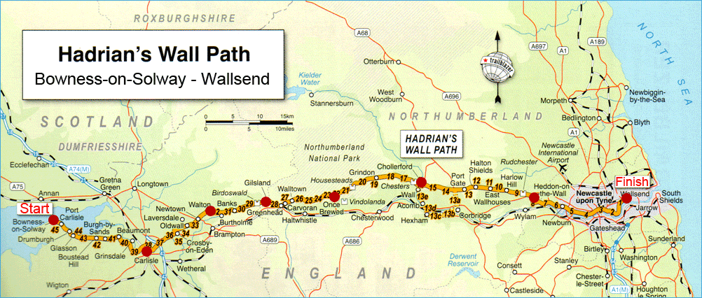 How Long From Newcastle To Hadrian S Wall By Car