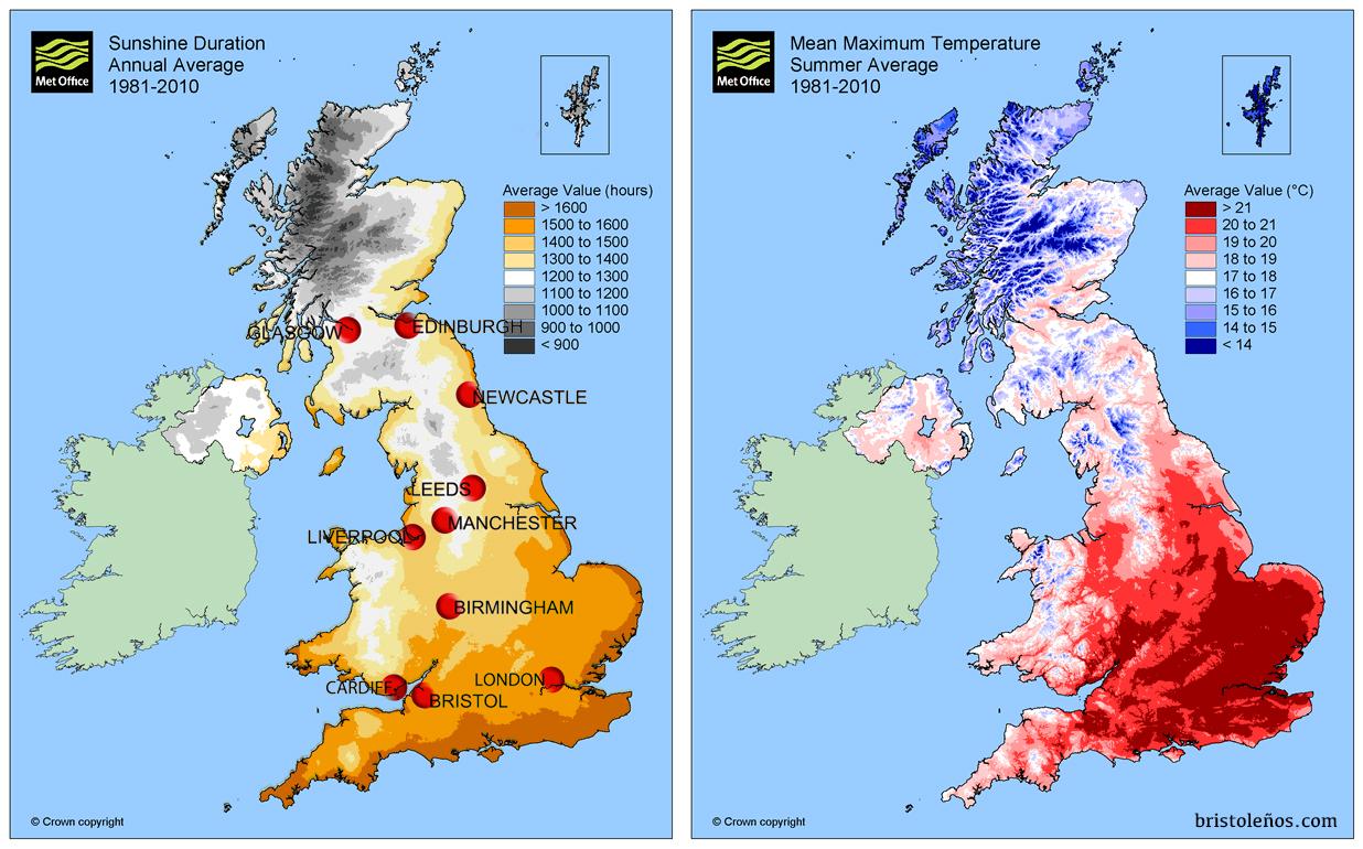 Horas de Sol al año y temperaturas en Reino Unido