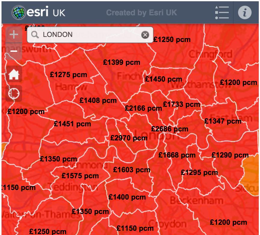 Mapa del precio de los alquileres en Gran Bretaña (2015 ...