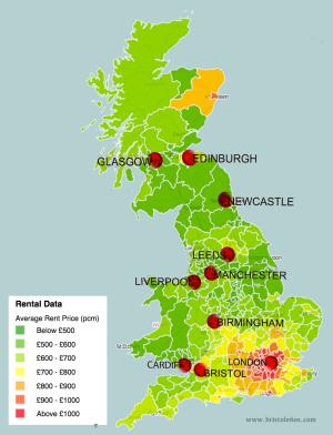 Mapa con el precio de los alquileres en UK