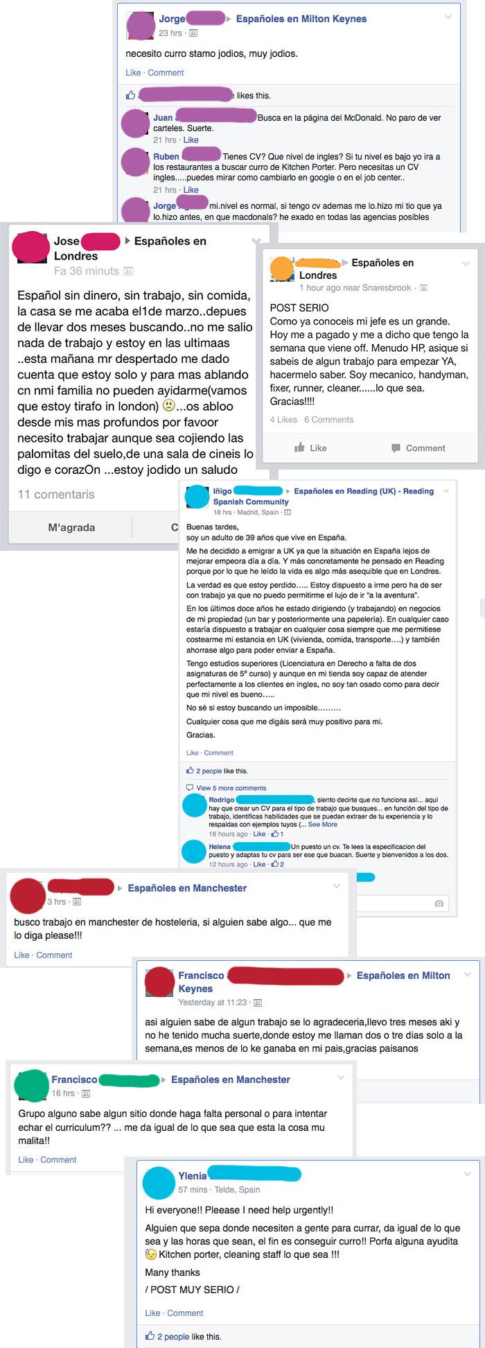 españoles pidiendo trabajo en reino unido