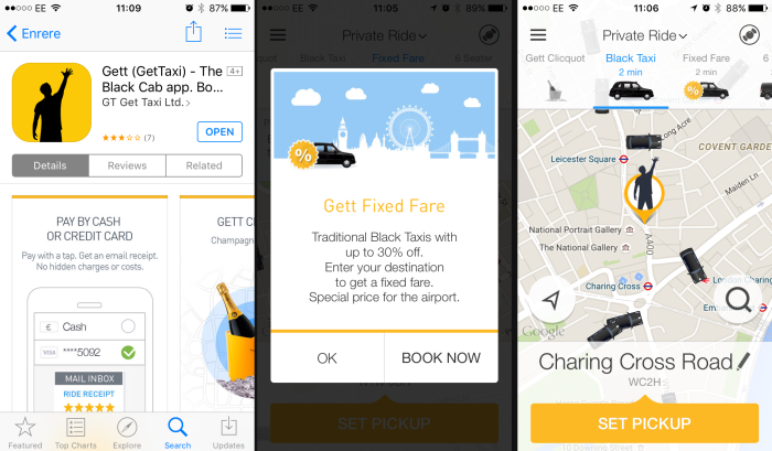 gett taxi app screenshot