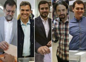 políticos votando