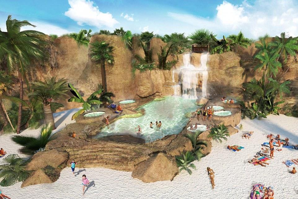 Imagen 1. La playa cubierta contará con una piscina de roca gigante, cabañas de playa y casas-árbol