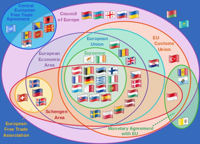 EU map and countries treaties