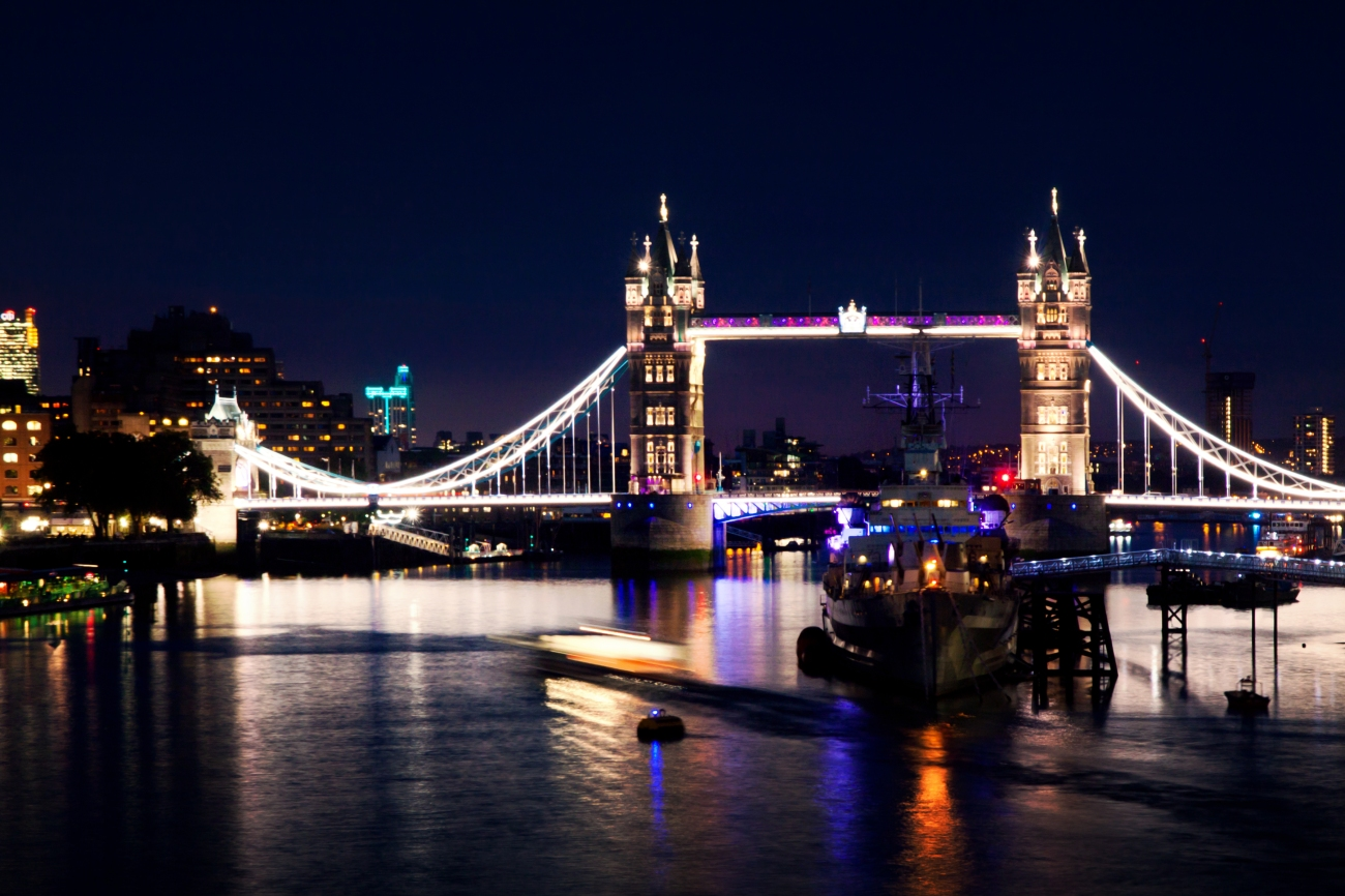 London Bridge and River Thames by night
