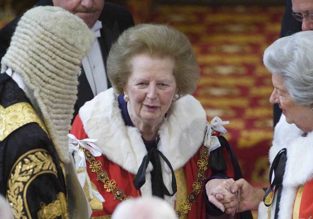 File photo of former British prime minister Thatcher attending the State Opening of Parliament at the House of Lords in Westminster