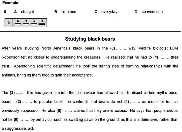 Parte del examen de inglés de Cambridge