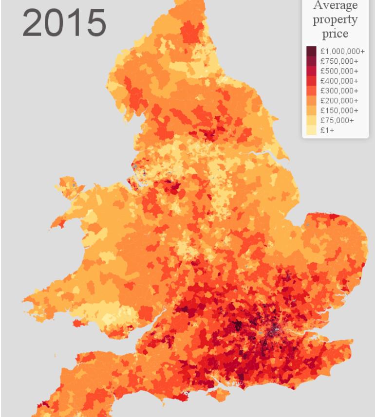 El precio medio de la vivienda el año pasado en Reino Unido