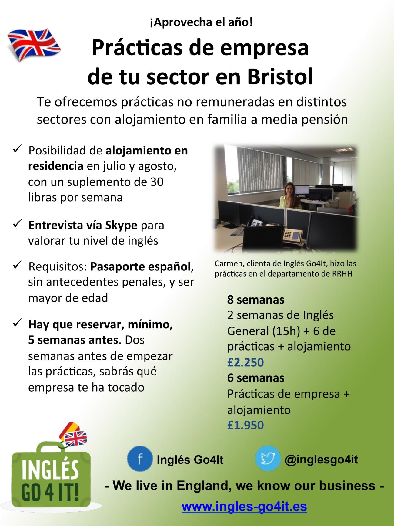 Prácticas de empresa en Bristol con Inglés Go4It