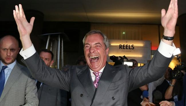 Nigel Farage celebrating brexit - eu referendum