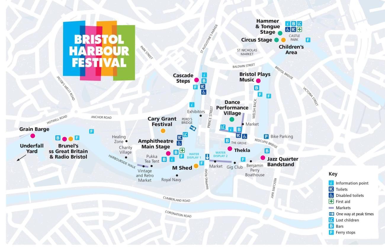 Mapa del Bristol Harbour Festival