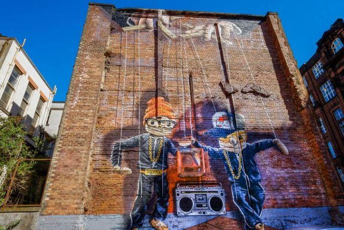 Graffiti marionetas hip hop, en Glasgow
