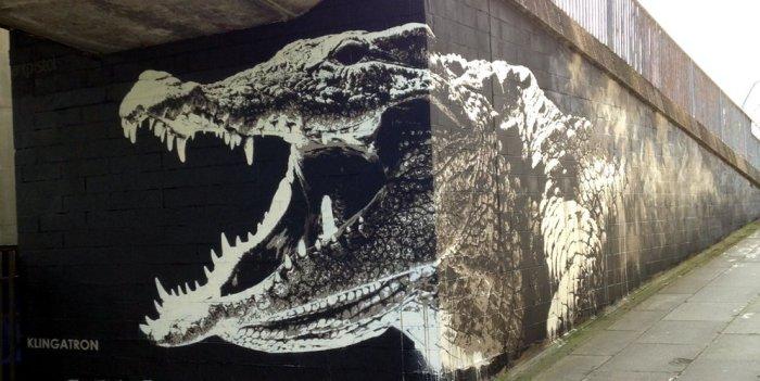 Graffiti cocodrilo Glasgow