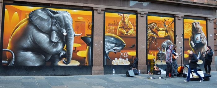 Graffiti animales cafetería, Glasgow