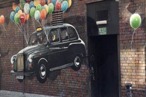 Graffiti taxi en Glasgow