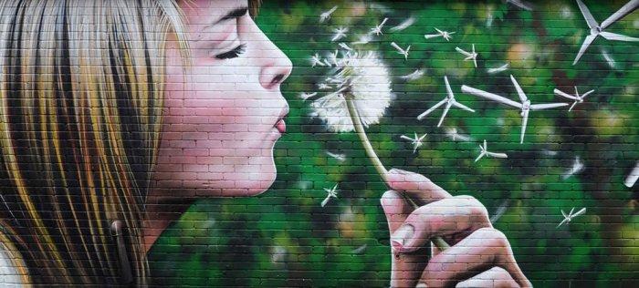 Graffiti 'Wind Power', en Glasgow