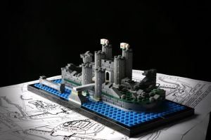 Caerphilly Castle, en Gales, en formato LEGO