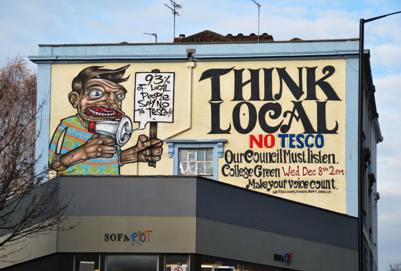 Mural en contra de Tesco en Stokes Croft / People´s Republic of Stokes Croft