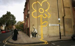 Yellow Lines Flower Painter, London