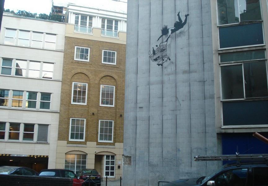 Falling Shopper Banksy London