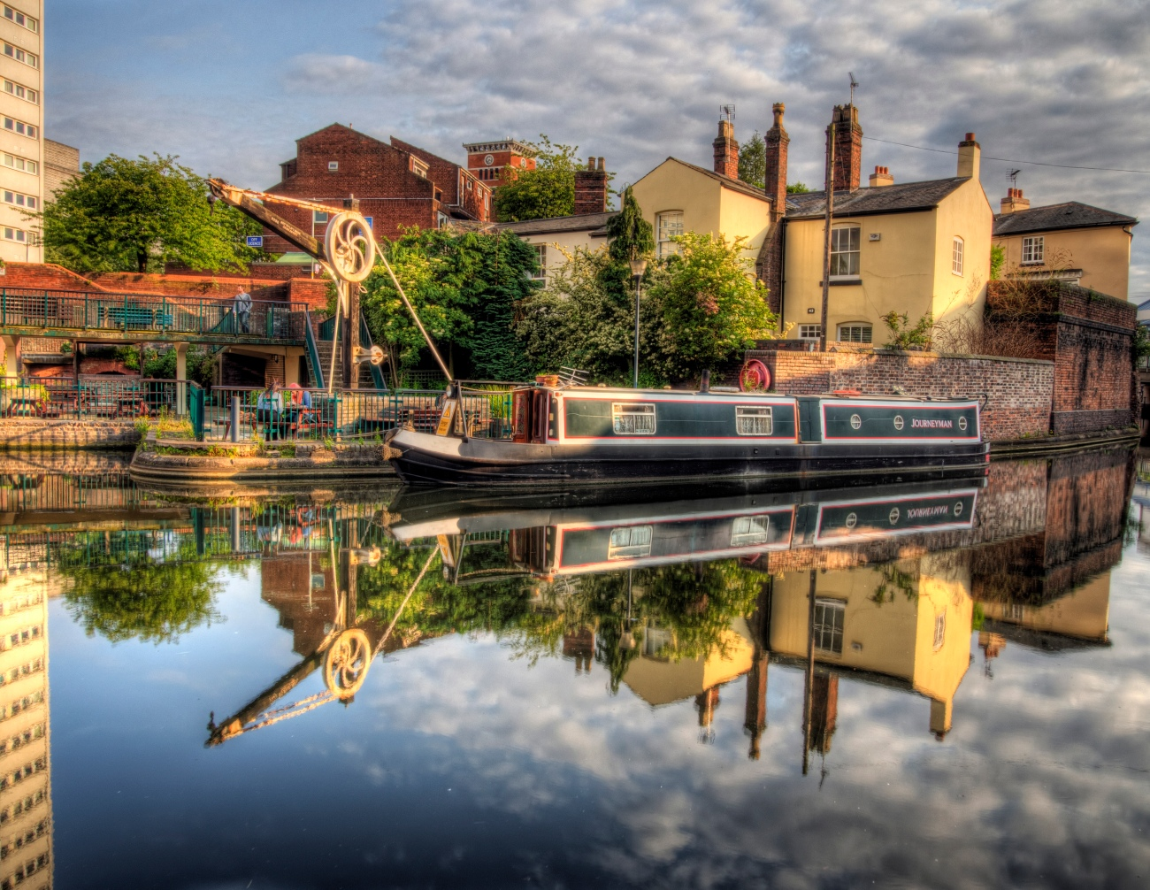 A narrowboat on the canal in Birmingham