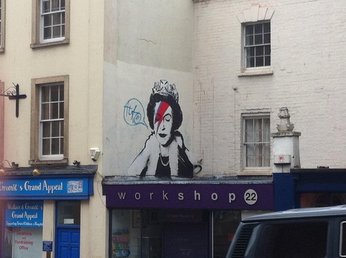 the Queen as Ziggy Stardust Banksy Bristol