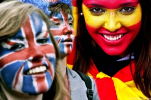 Painted faces Spanish and British