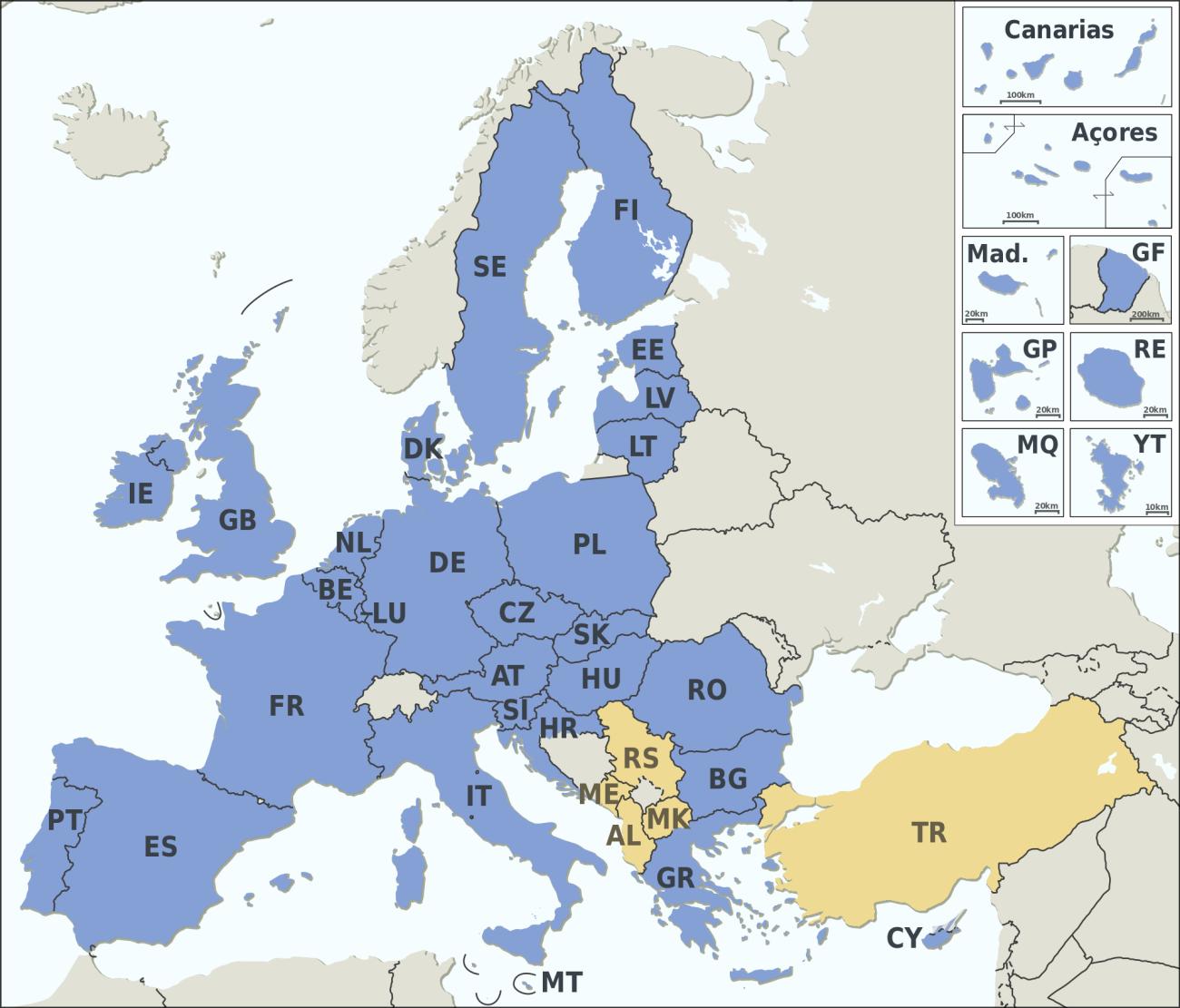 Los 28 países miembros de la Unión Europea