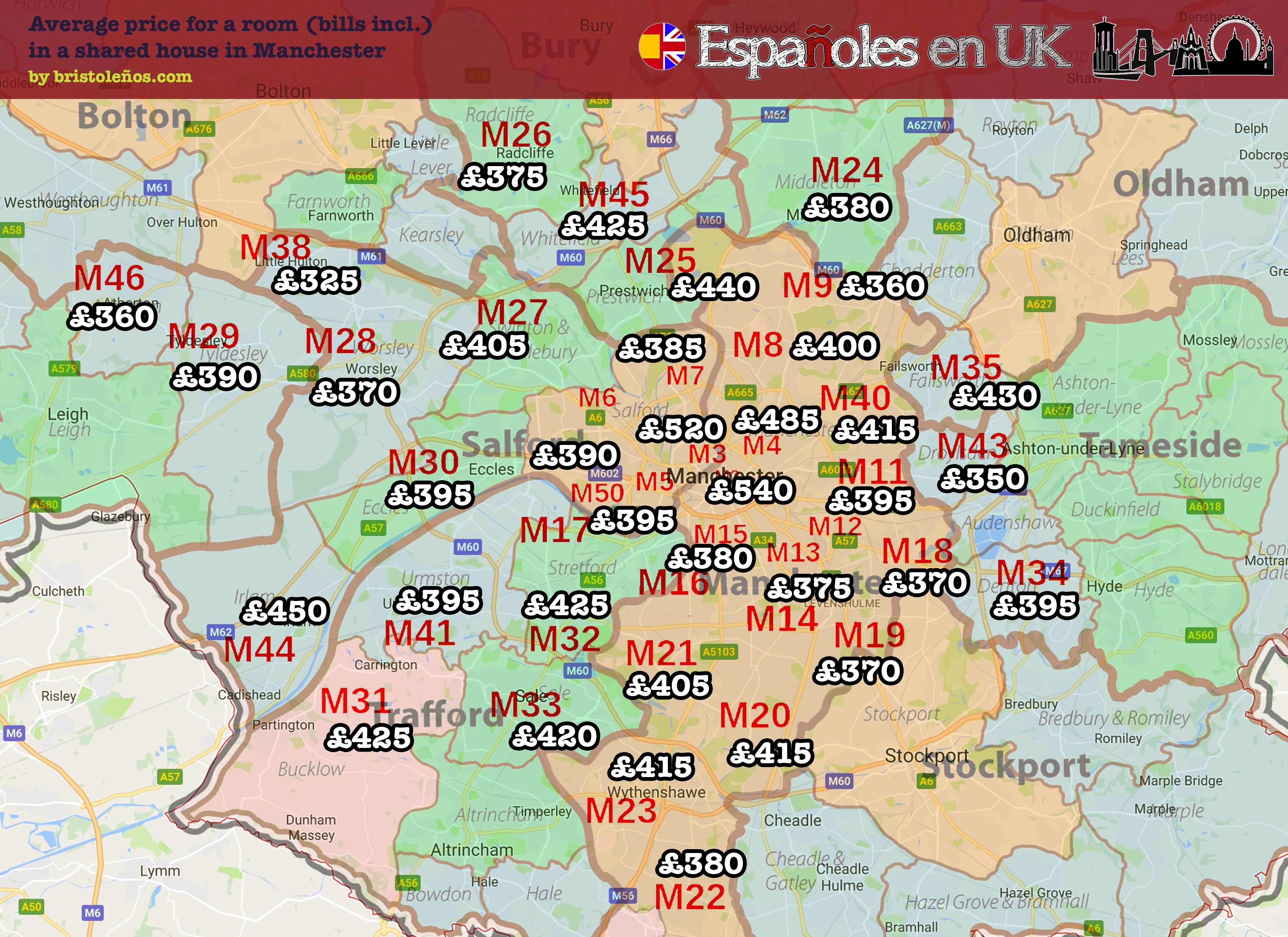 Alojamiento en Manchester: barrios y mapa precios de las ...