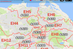 Precio alquiler habitaciones Edimburgo y postcodes