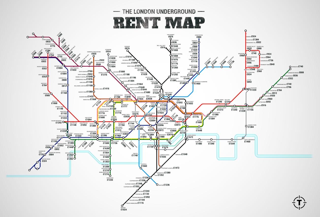 Mapa alquileres de Londres por estaciones de metro