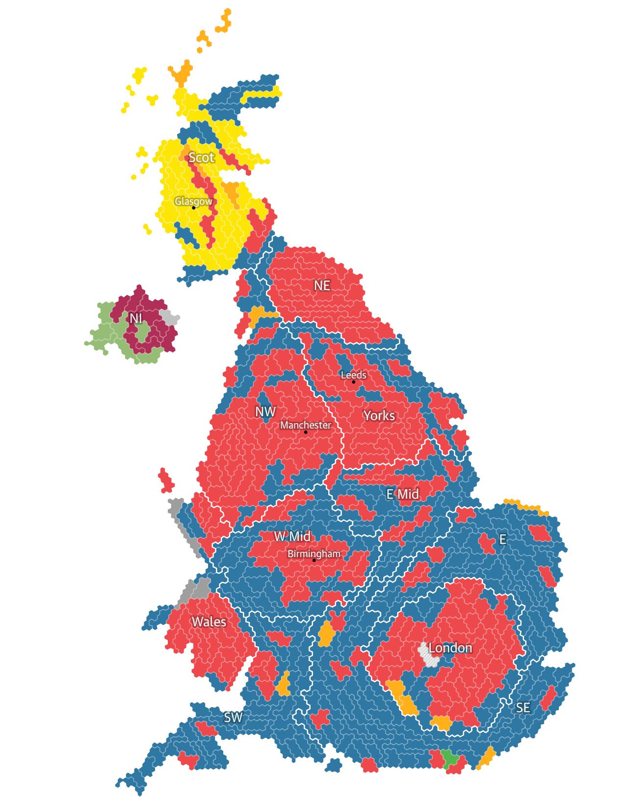 Mapa Escaños Elecciones Generales UK 2017