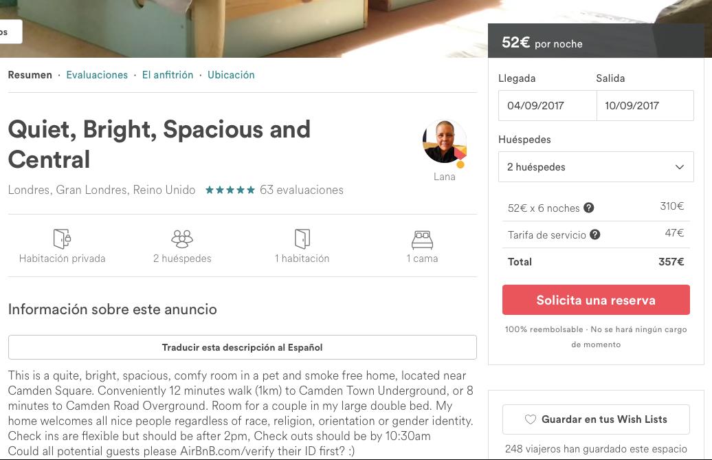 Habitación Londres Airbnb ejemplo