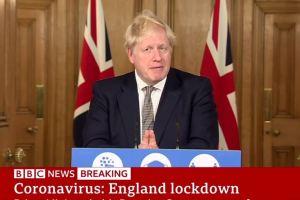 Boris Johnson anunciando el segundo confinamiento